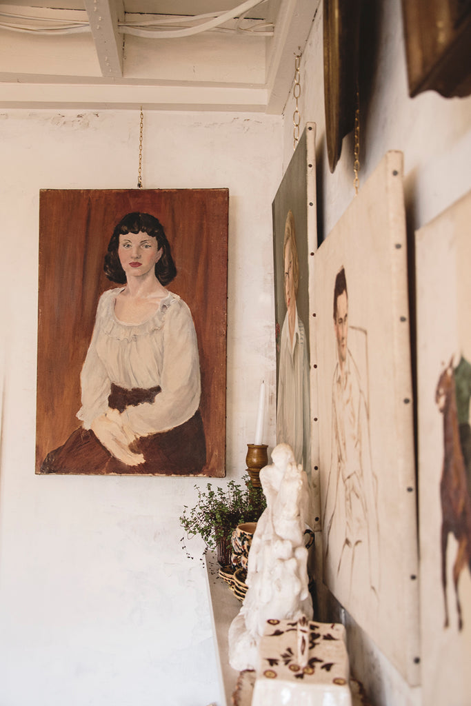 Vintage portrait on canvas. Decorative antique shop Bristol.