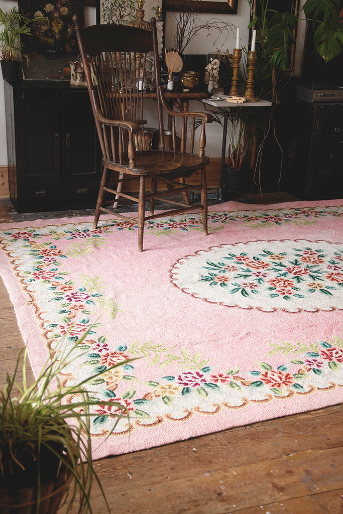 Hooked and Looped Vintage Rug