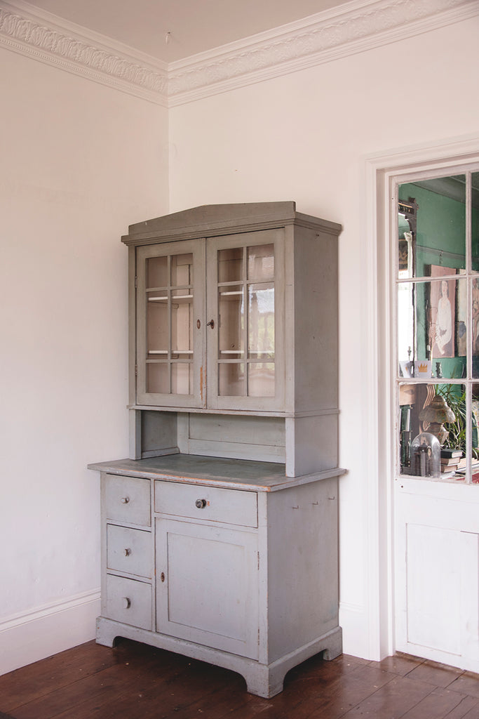 Decorative antique kitchen dresser, original paint and glass doors.Dig Haushizzle Antiques Bristol