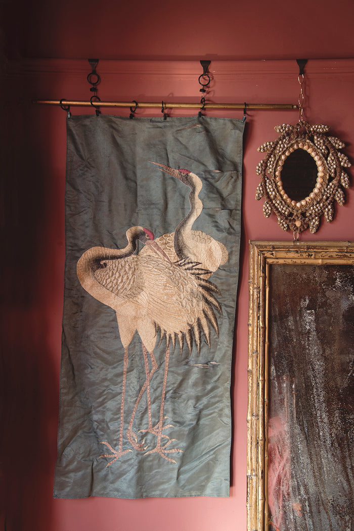 Antique Embroidered Silk Hanging