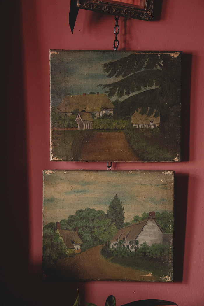 Pair of landscape paintings on canvas