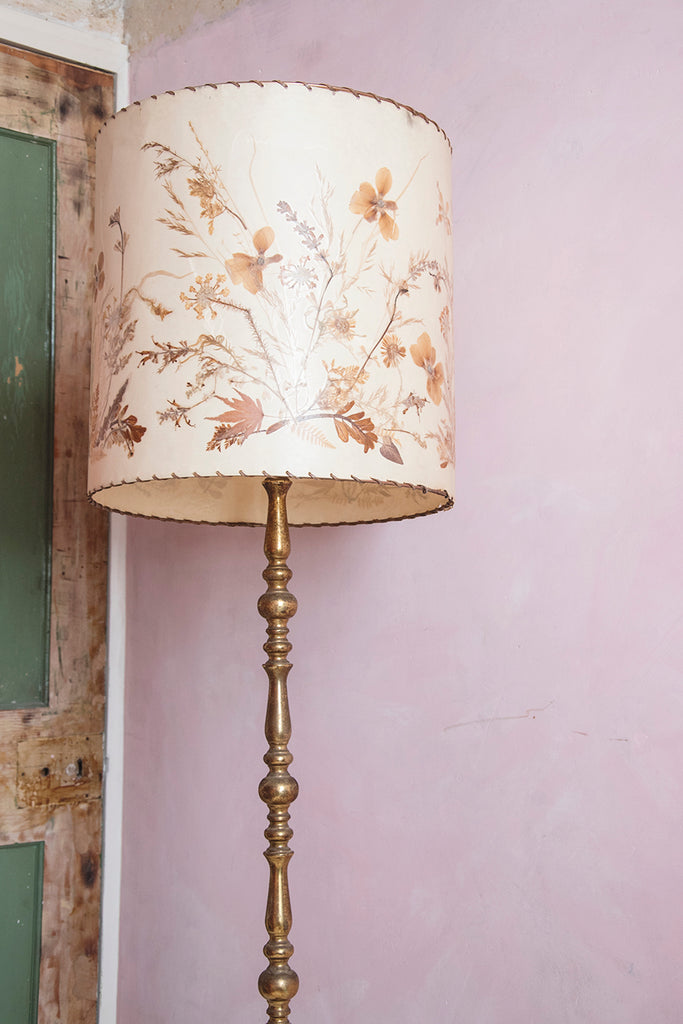Vintage flower pressing lamp shade in pink interior Bristol