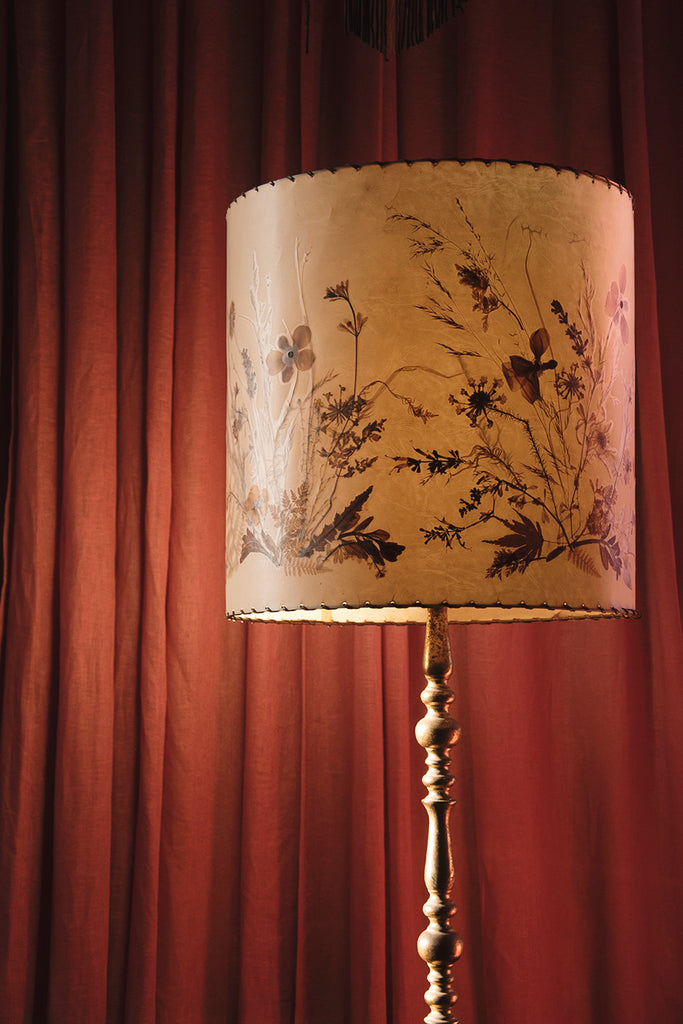 Brass Floor Standing Lamp and Shade