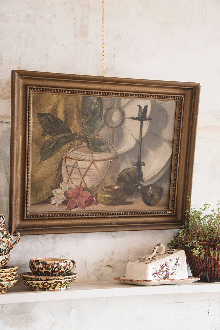 Framed Still Life On Canvas