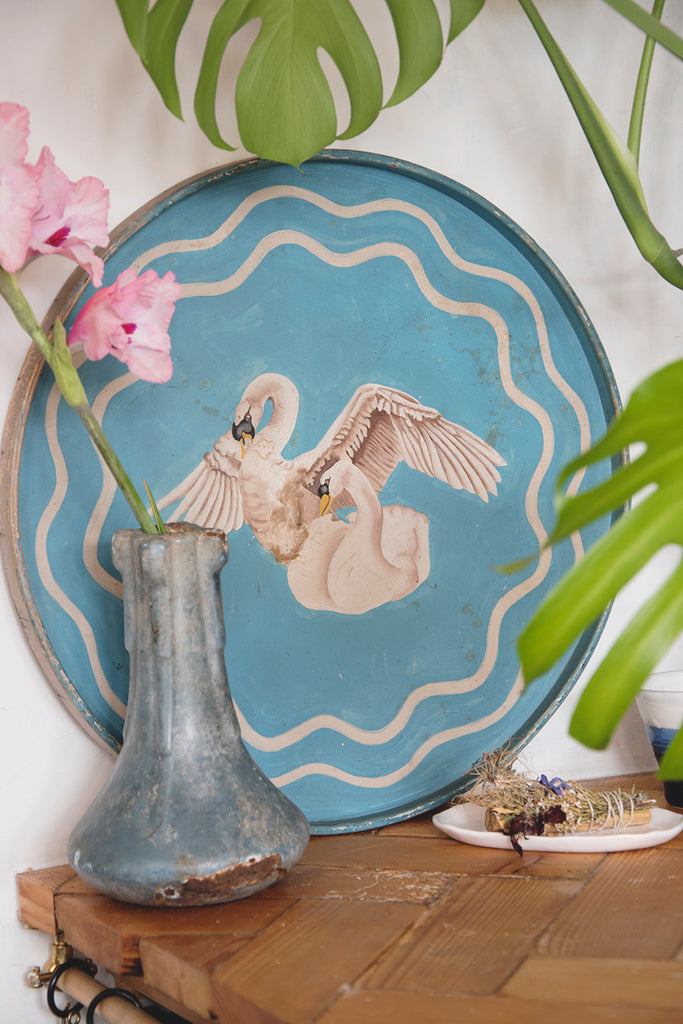 Painted vintage swan tray