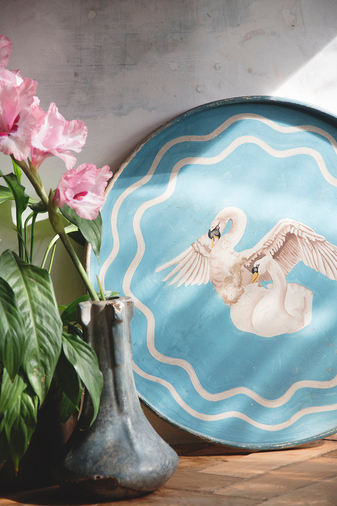 Hand Painted vintage swan tray