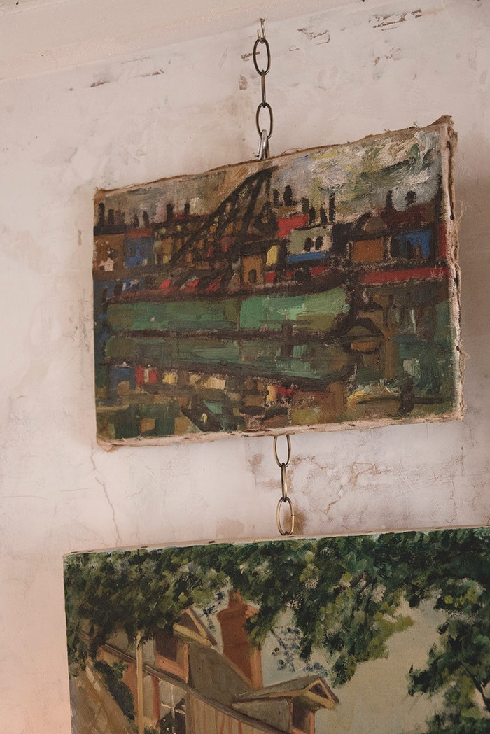 Early 20th Century Abstract Painting On Canvas