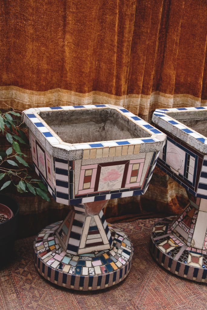A Pair Of Mosaic Planters