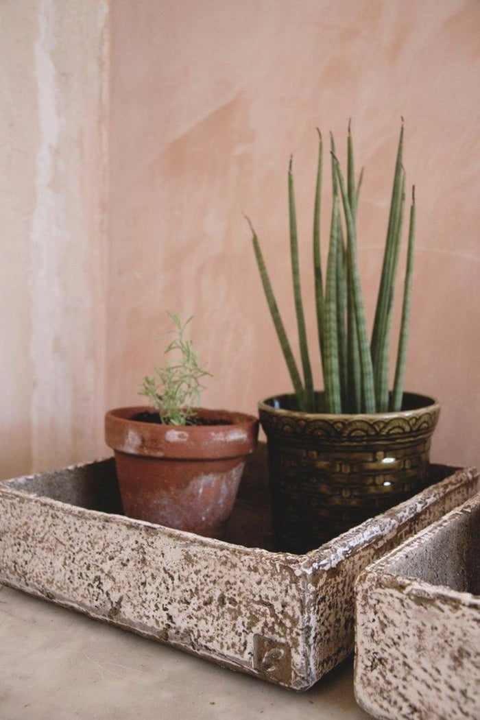 Contemporary Square Planters. Concrete Plant Pots, Indoor Plants Greenery. Vintage Interiors Bristol