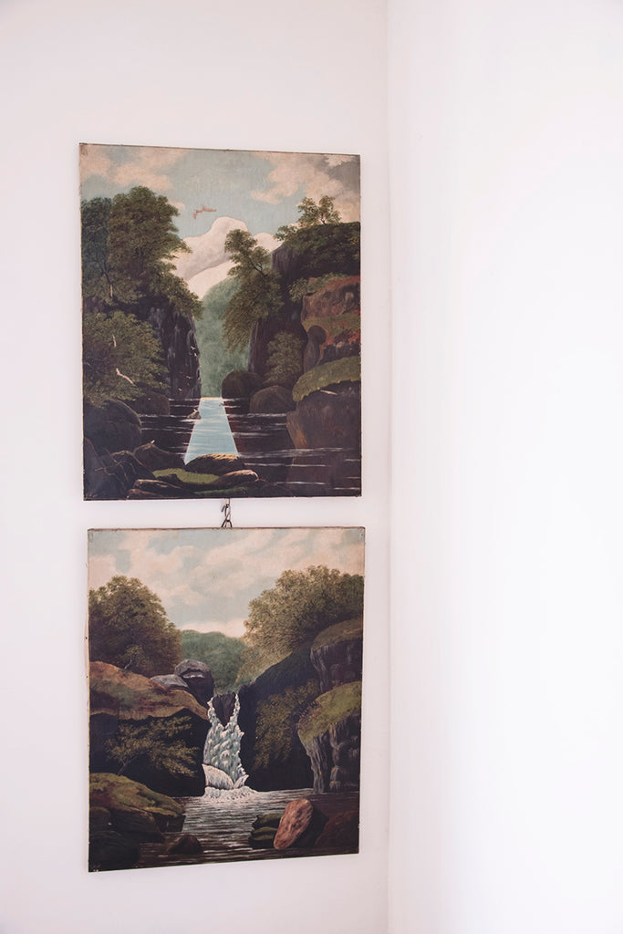 Pair of Antique Landscape Painting On Canvas