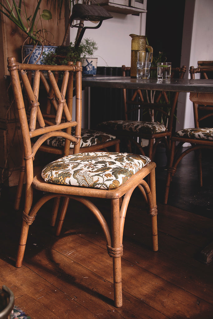 Bentwood dining chairs upholstered in green vintage fabric. Bristol Dig Haushizzle