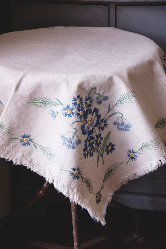 White Embroidered Tablecloth