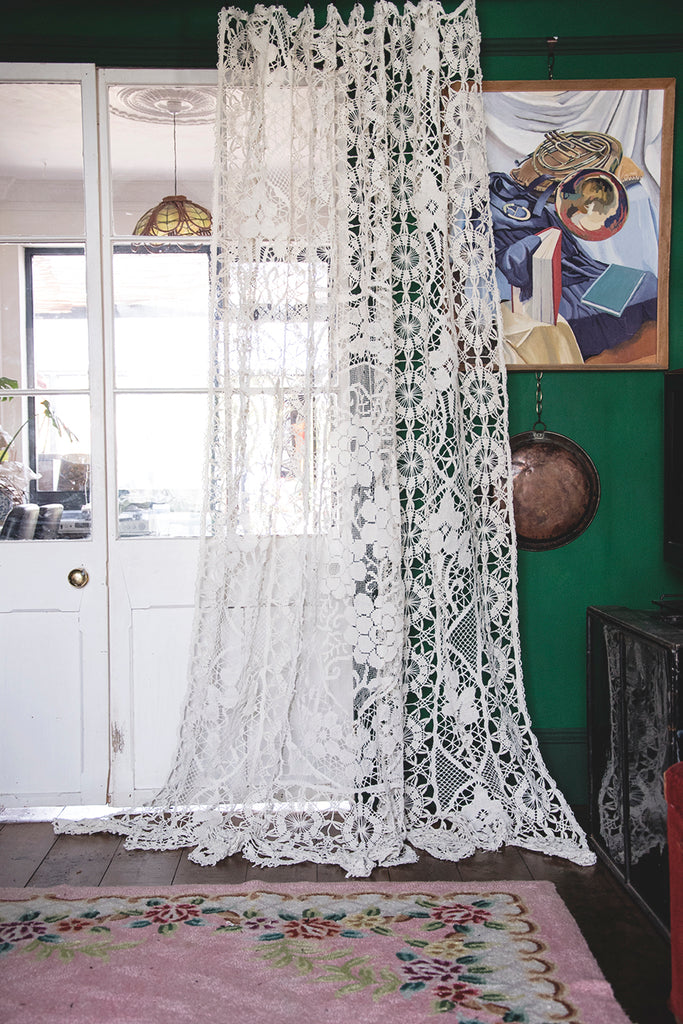 Antique Lace and Crochet Curtain. IDM Interiors design masters tv Cassie Nicholas