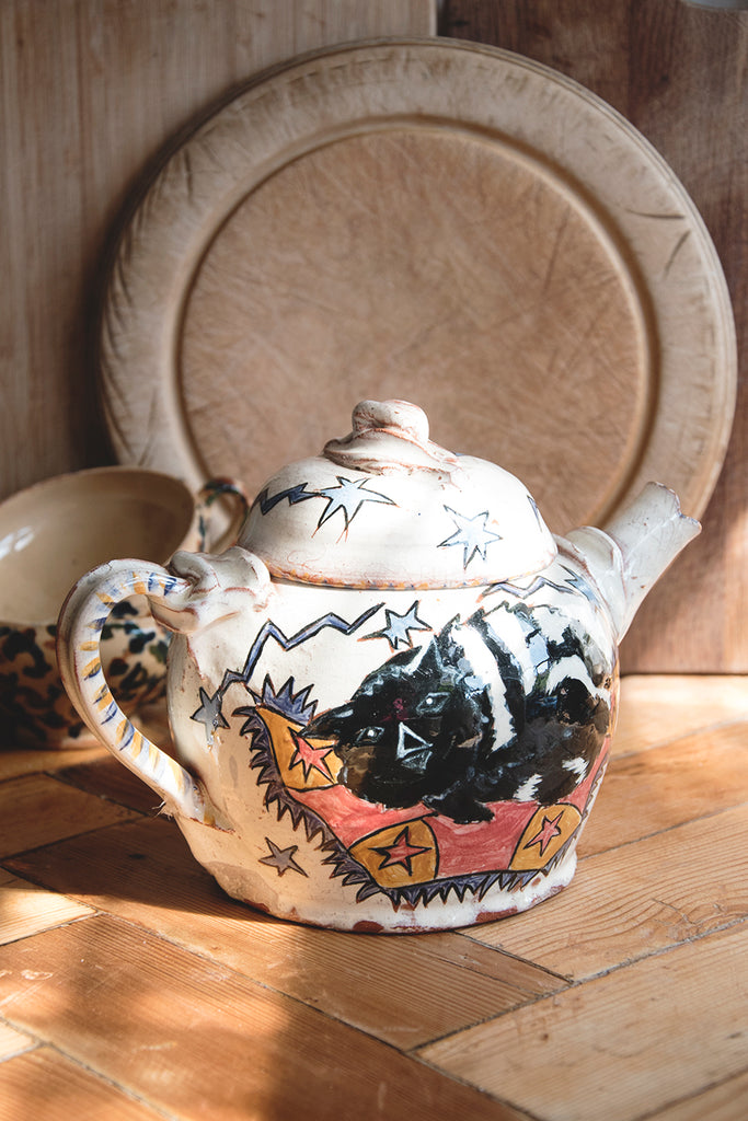 Handmade Ceramic Teapot cat design