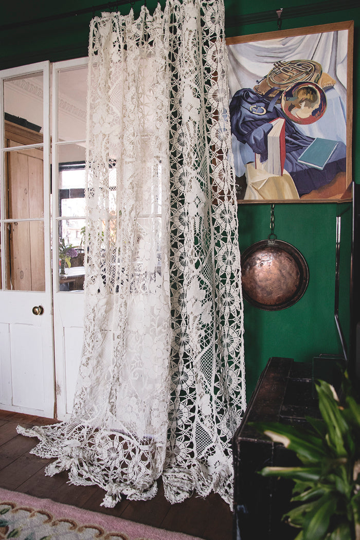 Antique Lace and Crochet Curtain. Interior designer Bristol. Cassie Nicholas