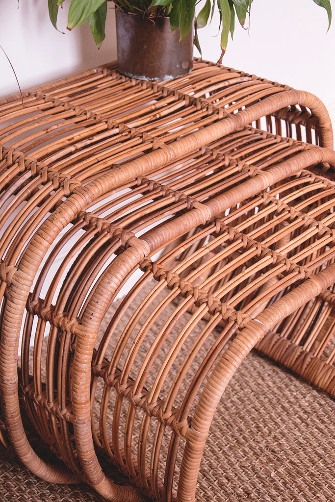 Vintage Rattan nest of tables.