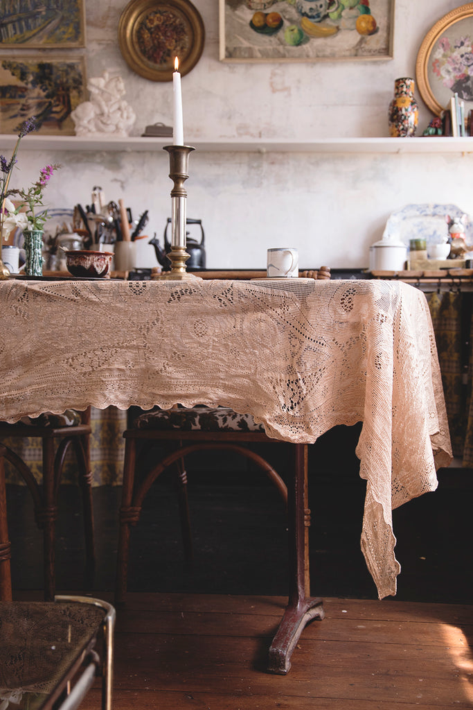 Vintage lace curtains used in interior design