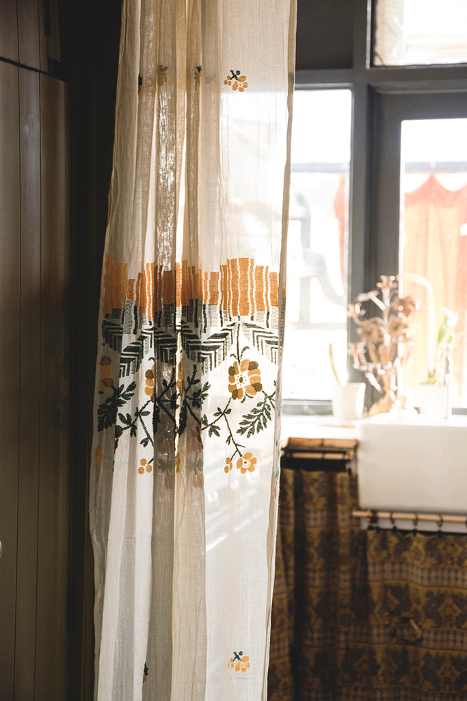 Embroidered Muslin Curtain