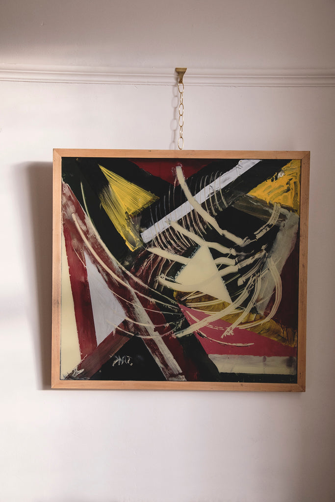Framed abstract Painting on glass