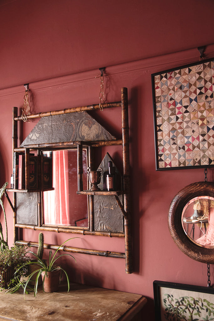 VICTORIAN BAMBOO OVER MANTAL MIRROR with original detailing