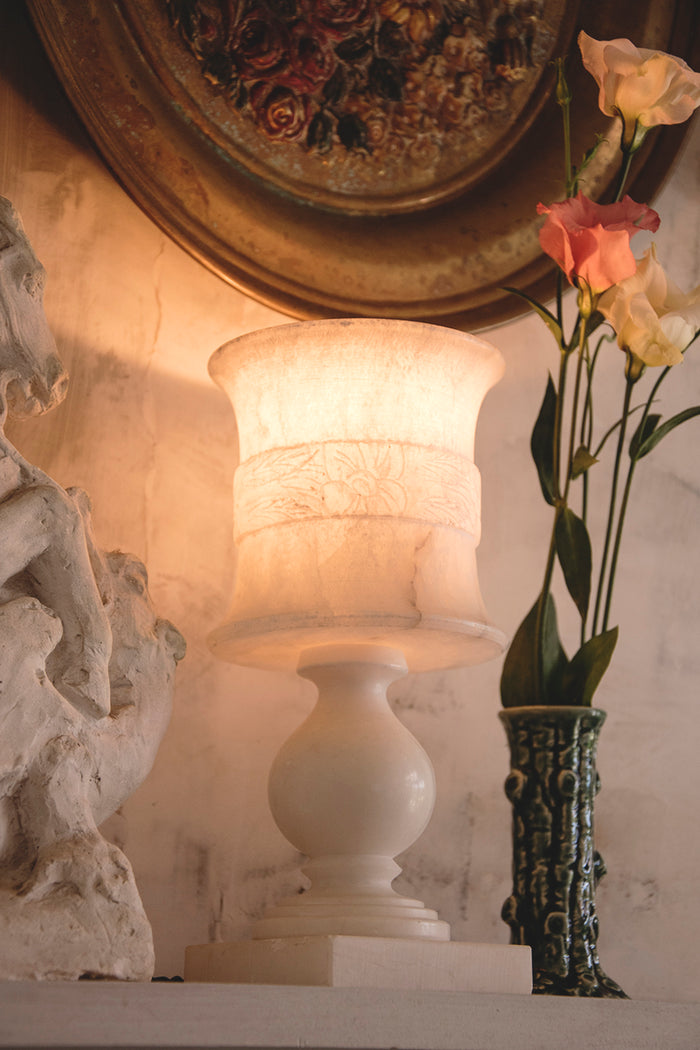 Warm glow of a vintage alabaster lamp. Dig Haushizzle Bristol