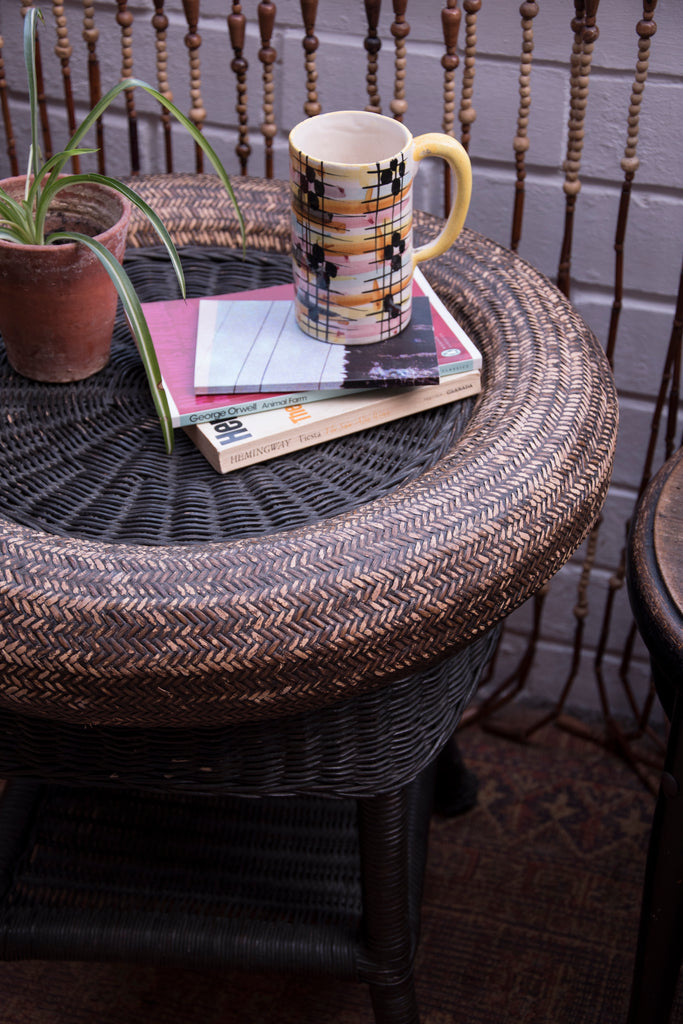 Vintage wicker side table. Antique Shop Dig Haushizzle. Cassie Nicholas Bristol
