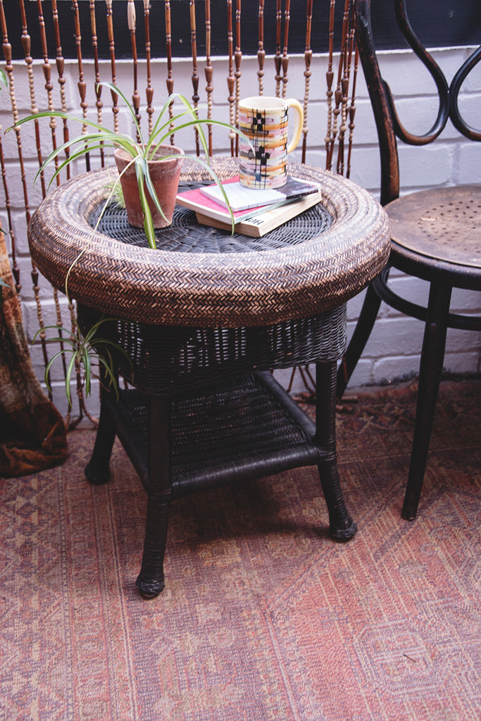 Vintage wicker side table. Dig Haushizzle. Interior Design Cassie Nicholas Bristol