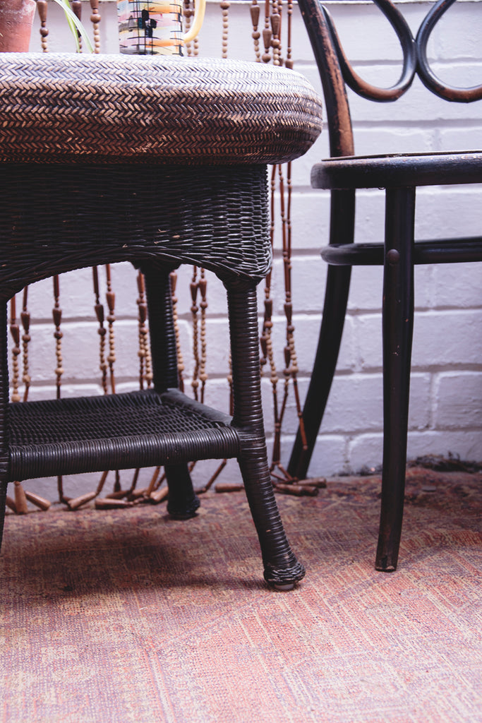 Vintage wicker side table. Worn Patina Wicker table. Dig Haushizzle. Cassie Nicholas Bristol