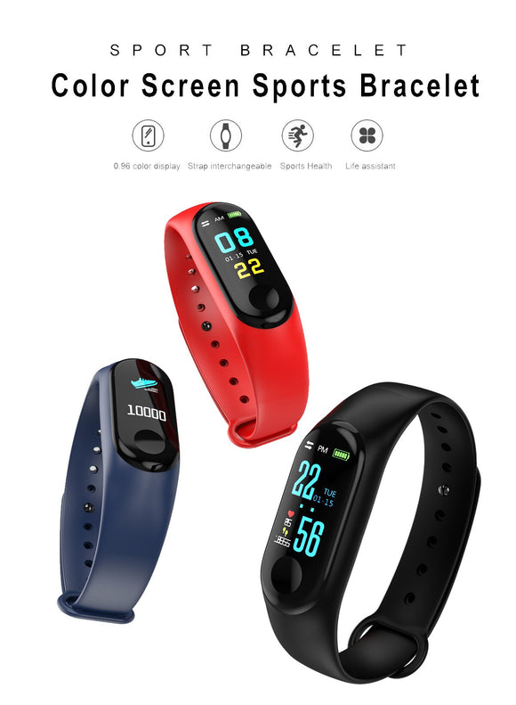 TDG M3 Smart Band Color Screen Blood Pressure Oxygen Heart Rate Android iOS - YourDeal US