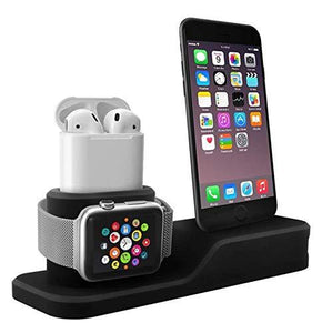 TDG 3 in 1 Charging Station Silicone Dock for Apple iPhone Watch & Airpods Black - YourDeal US