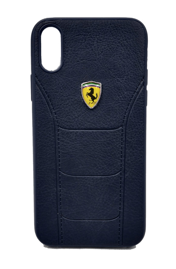 Apple iPhone XS Max Leather Back Soft Silicone Ferrari Back Case Cover Black - YourDeal US