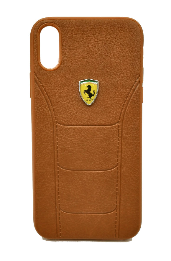 Apple iPhone XS Max Leather Back Soft Silicone Ferrari Back Case Cover Brown - YourDeal US