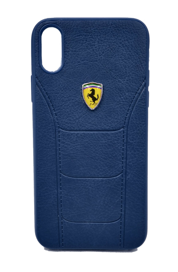 Apple iPhone XS Max Leather Back Soft Silicone Ferrari Back Case Cover Dark Blue - YourDeal US