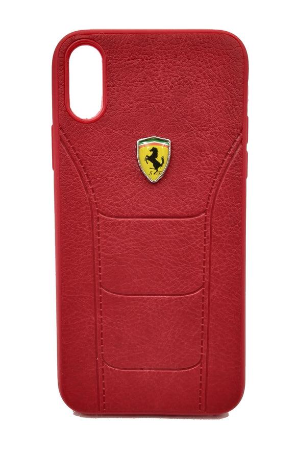 Apple iPhone XS Max Leather Back Soft Silicone Ferrari Back Case Cover Red - YourDeal US