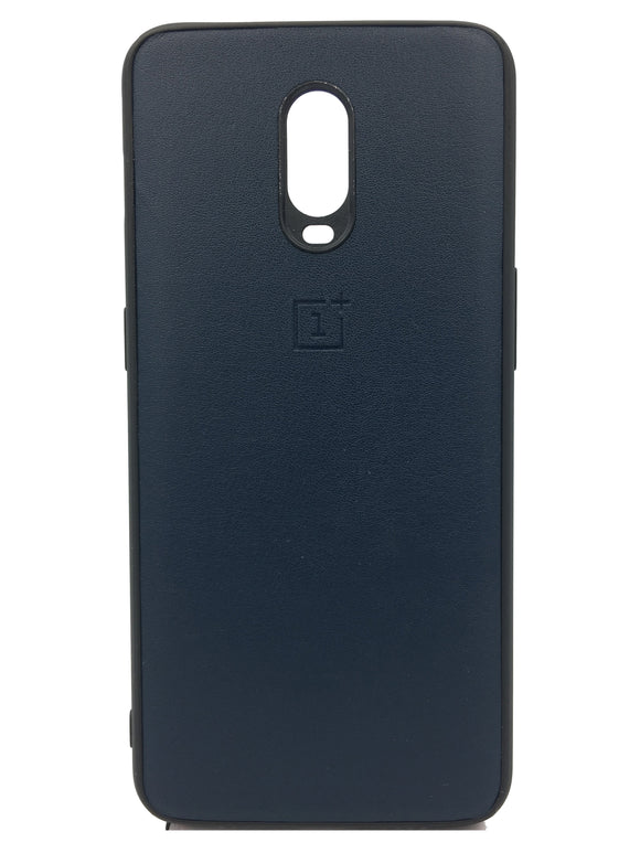OnePlus 6T Leather Hard Back Soft Side Protective Case Dark Blue - YourDeal US