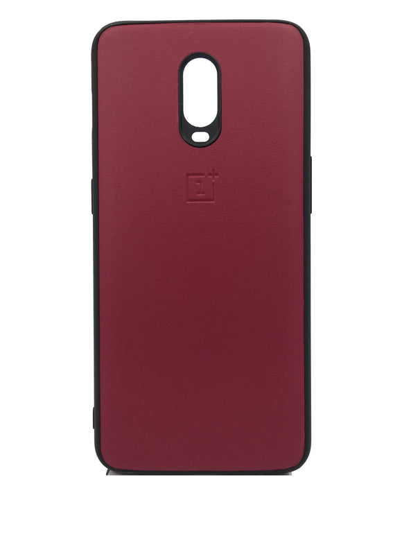 Oneplus 6T Leather Hard Back Soft Side Protective Case Maroon - YourDeal US
