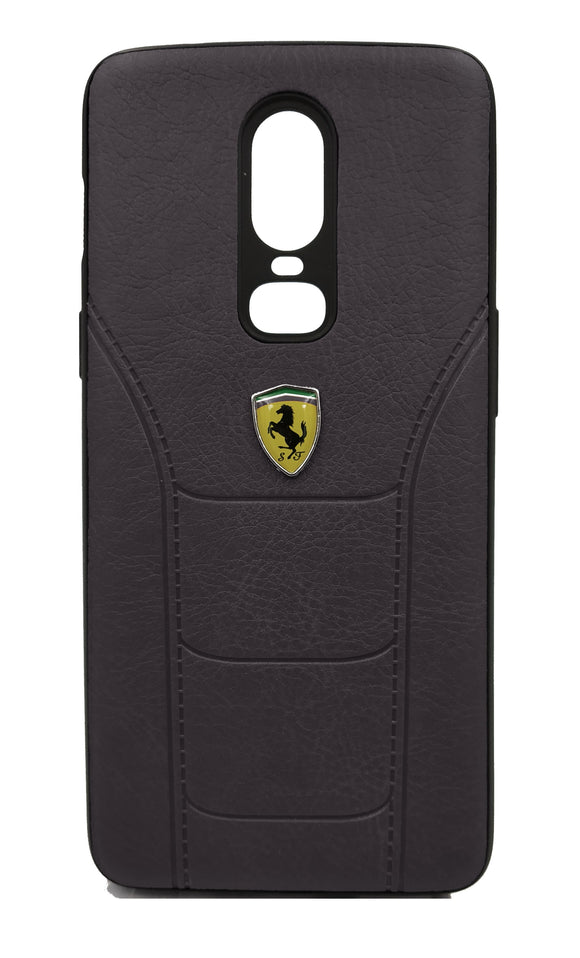 Oneplus 6 Leather Back Soft Silicone Ferrari Back Case Cover Black - YourDeal US