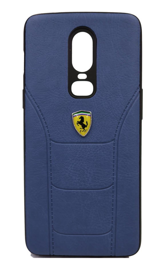 Oneplus 6 Leather Back Soft Silicone Ferrari Back Case Cover Dark Blue - YourDeal US