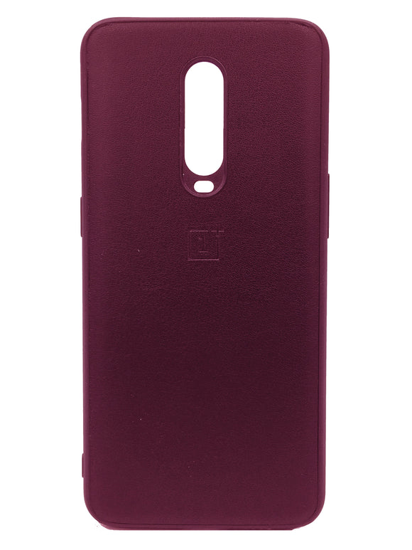 Oneplus 7 Pro PU Leather Back Cover Case With Silicone Bumper Maroon - YourDeal US