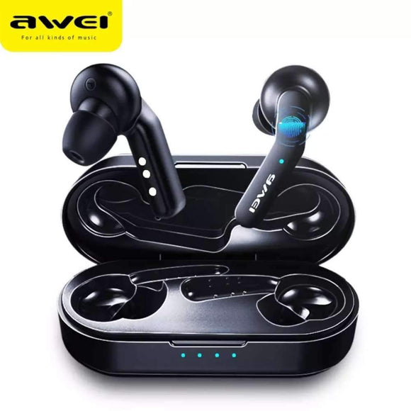 AWEI T10C True Wireless Earbuds with Wireless Charging Case Black - YourDeal US