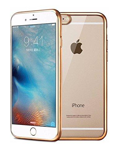 YourDeal Back Cover for Apple iPhone 6S 7 8 Plus (Transparent with Golden Border, Silicon) - YourDeal US