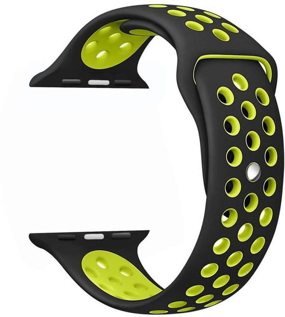 TDG Replacement Sports Silicone Watch Strap 42mm for Apple Watch 1 2 3 Black Yellow - YourDeal US