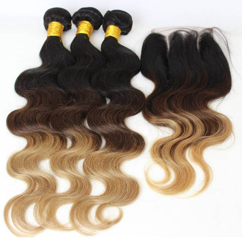 3 BUNDLE DEAL W/CLOSURE 3 TONES `1B/4/27 $280 - Bella Virgin Remy