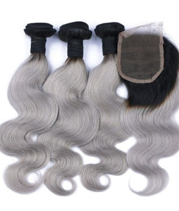 3 BUNDLE DEAL W/CLOSURE 1B/GRAY $280 - Bella Virgin Remy
