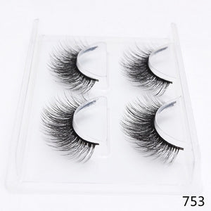 2 Pairs Thick False Eyelashes Set Natural Long Lashes Makeup Fake Eyelashes Reusable 3D Mink Lashes Eyelash Extension Makeup - Bella Virgin Remy