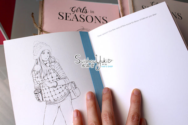 Girls in Seasons: Sketch & Color Book