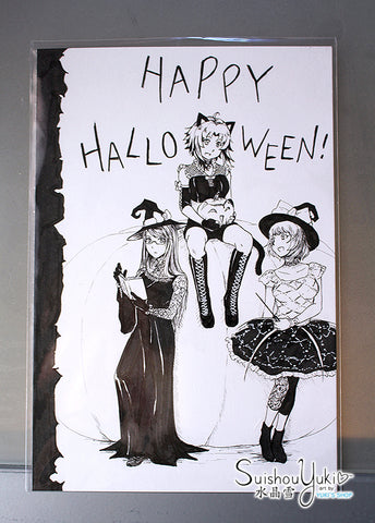 Missing Haruka Halloween - Original Ink Illustration