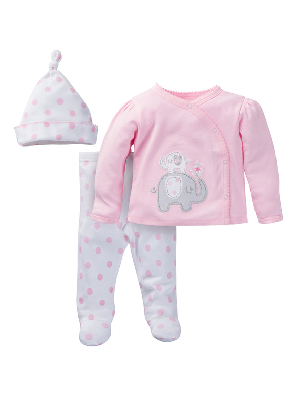 Newborn Baby Girl Take-Me-Home Outfit Set, 3-Piece
