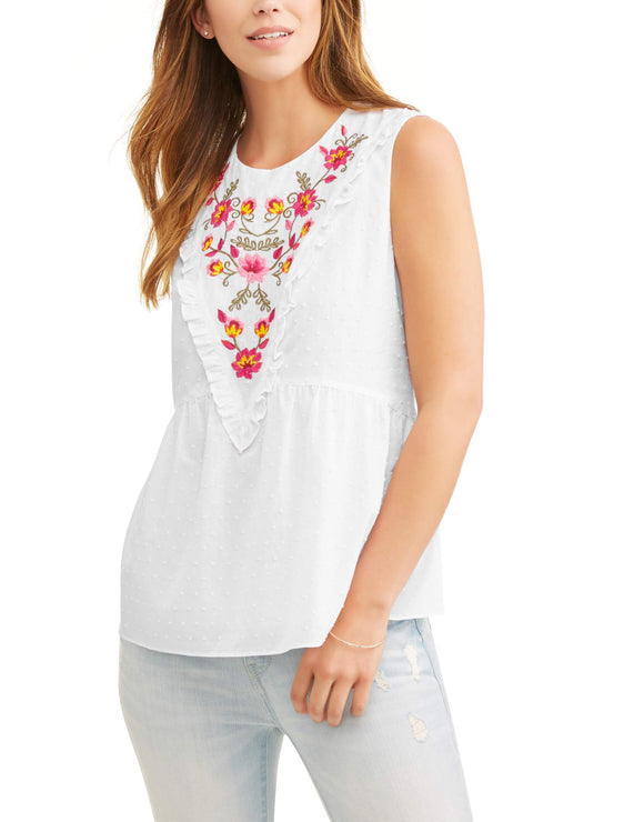 Women's Swiss Dot Embroidered Tank Top