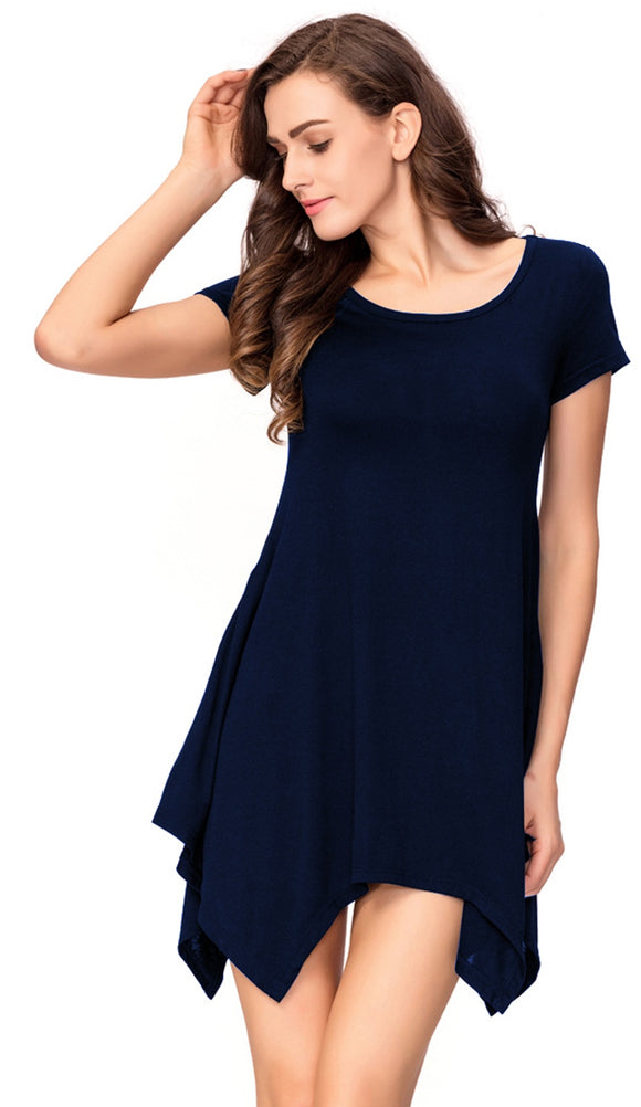 One Sight Tunic Tops Loose Fit round collar T-Shirt Dress for Women, Short Sleeve & Swing Pocket Three Colors Options